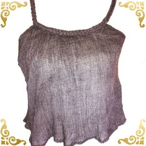 Anthropologie Staring at Stars Gray Gauze Tank M